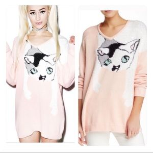 NWT! Wildfox White Label Joan the Cat Sweater i
